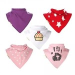 Pack of 5 Cute Girls Bandana Bibs