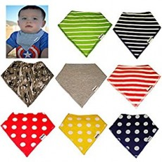 Pack of 8 Organic Bandana Baby Bibs Unisex 0-3 Years